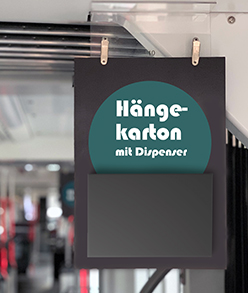 Hängekarton mit Flyer-Dispenser